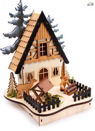 Erdei világító házikó fa dekoráció
