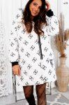 LARA steppelt kabát láncos mintával fehér