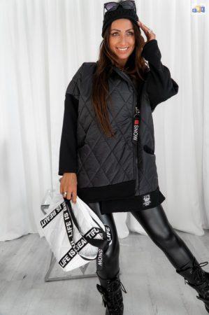Hierbas női steppelt kabát fekete