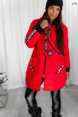Arbusto Ferrari piros trendi női steppelt kabát