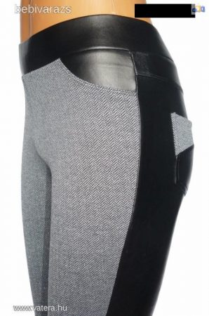 Vastag szövethatású hátul műbőr leggings L méret