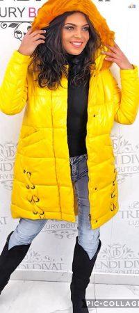 Női fényes steppelt kabát trendi, divatos, meleg új