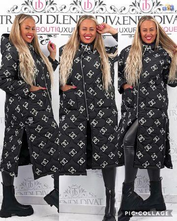 Steppelt mintás női kapucnis  kabát fekete