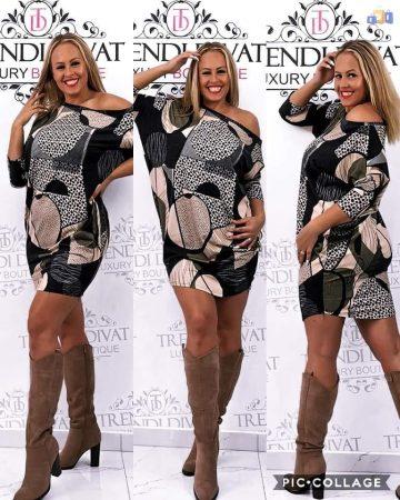Mintás női puha tunika ruha női felső